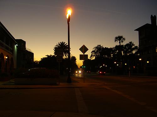 King and Granada St Corner at Night Photo