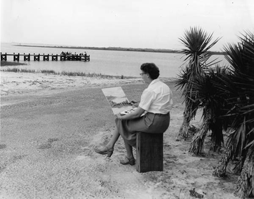 Picture of Woman Painting Anastasia State Park Fishing Pier