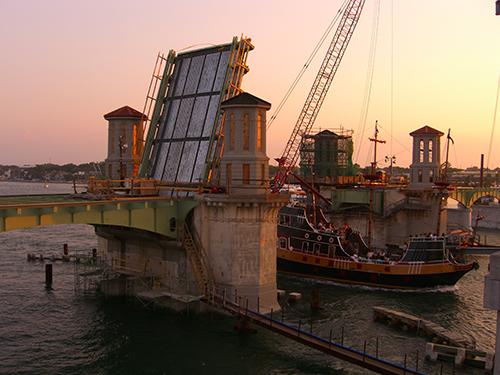 Pirate Ship Under Bridge of Lions Photo