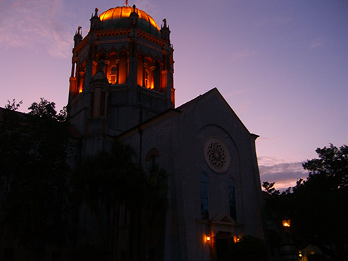Flagler Memorial Presbytarian Church Dusk Photo