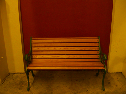 Red Wall Bench Picture