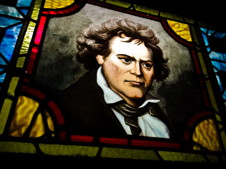Photo of Beethoven Stained Glass Window in Lightner Museum St Augustine Florida