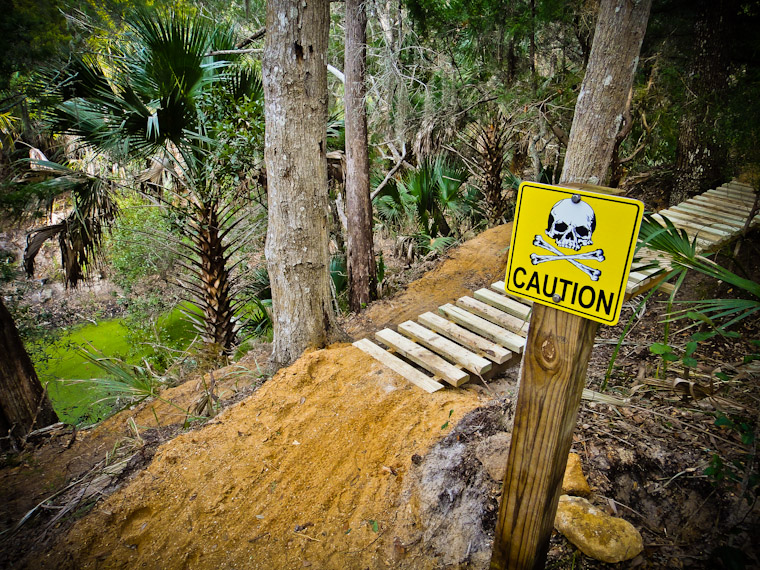 Caution Sign at Hobo's Mountain Bike Trail St Augustine Florida