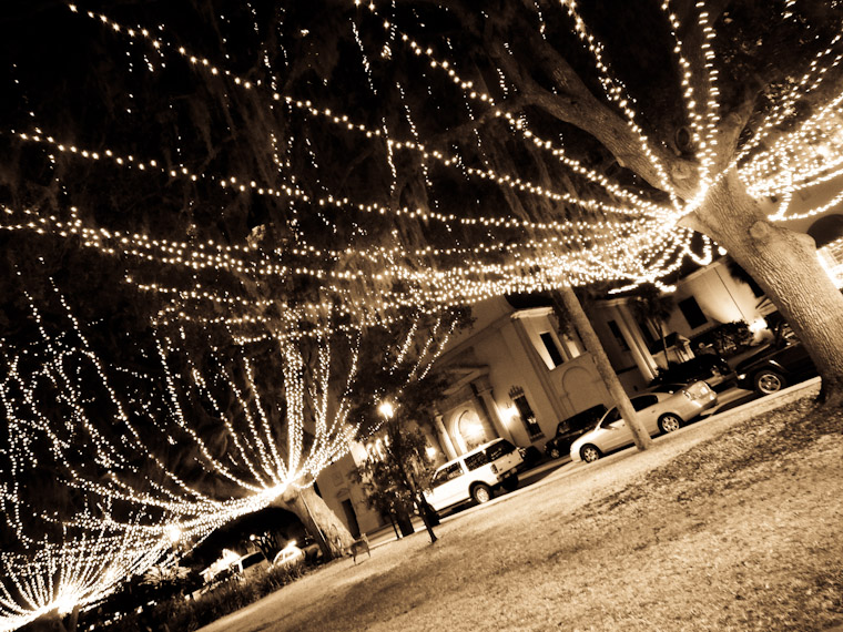 Picture of Sepia Night of Lights Trees St Augustine Florida