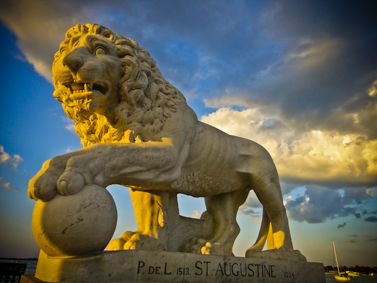 Cloudy Bridge of Lions Statue St Augustine Florida Picture