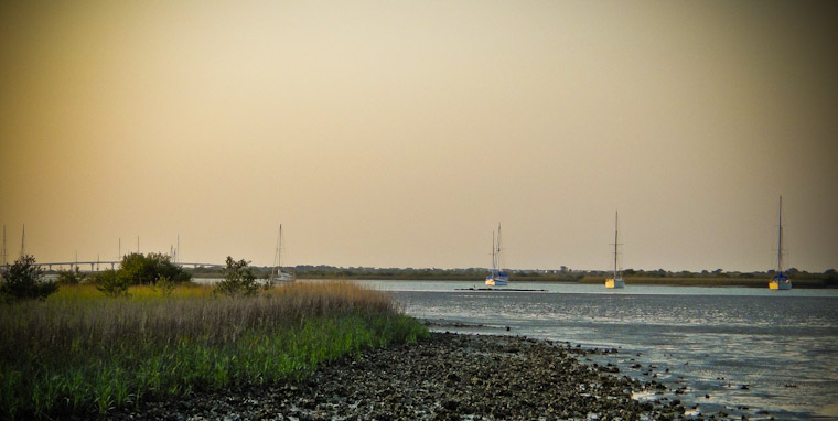 Picture of Lowtide Intracoastal Oyster Boats in St Augustine Florida