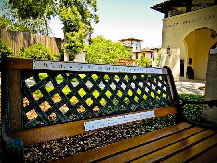 Dr Proctor's Bench at Flagler College in St Augustine Florida