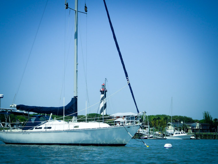 Picture of Sailboat at Lighthouse in St Augustine Florida