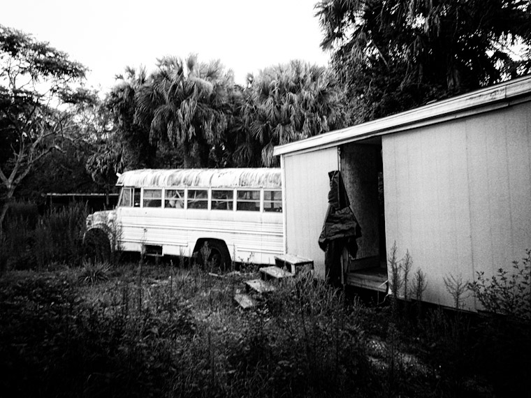 Picture of Abandoned Trailer and School Bus in St Augustine Florida
