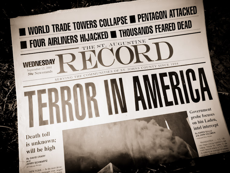 Picture of St Augustine Record Newspaper from 9/11 World Trade Center Attack