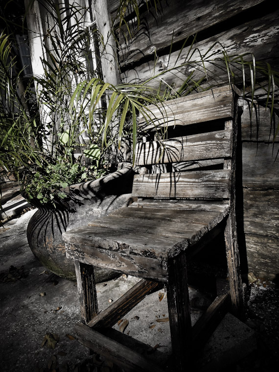 Photo of wooden chair and plant in St Augustine Florida
