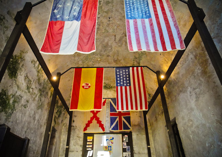 Picture of of fort flown flags in Saint Augustine Florida