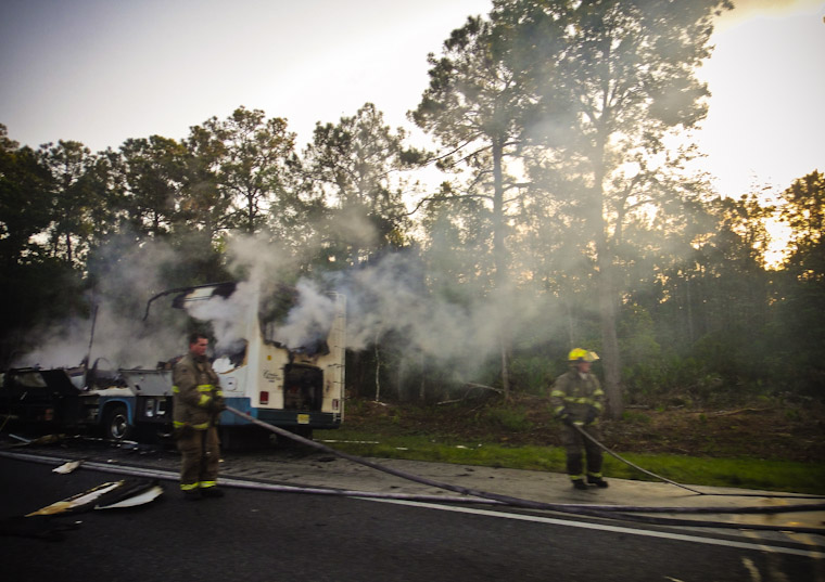 Picture of firefighters vs RV fire in Saint Augustine Florida