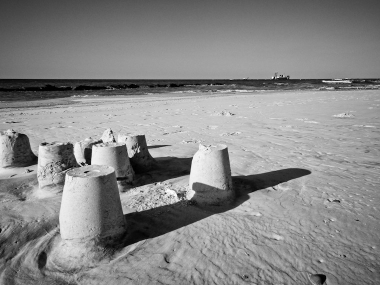 Photo of Sand castles and dredge in Saint Augustine Florida