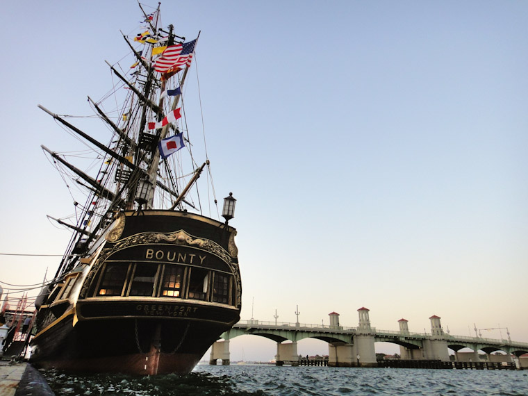 Picture of HMS Bounty and Bridge of Lions in St Augustine Florida