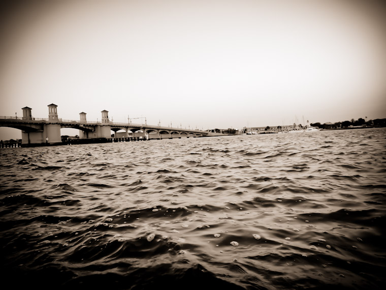 Picture of sepia bridge of lions water in saint augustine florida