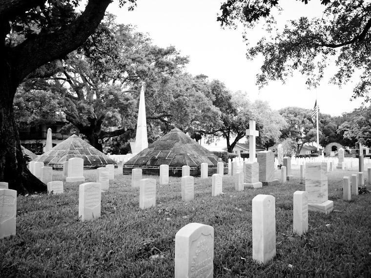 Half-mast at US National Cemetery in Saint Augustine Florida