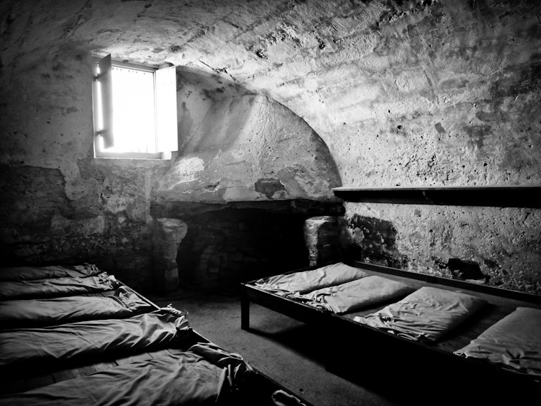 Castillo de San Marcos sunlit room in Saint Augustine Florida