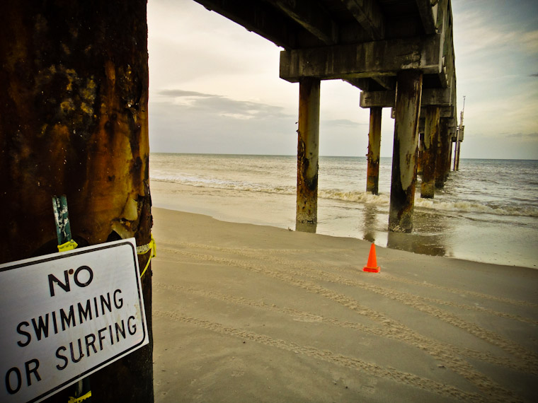 No Swimming or Surfing at Saint Augustine Pier