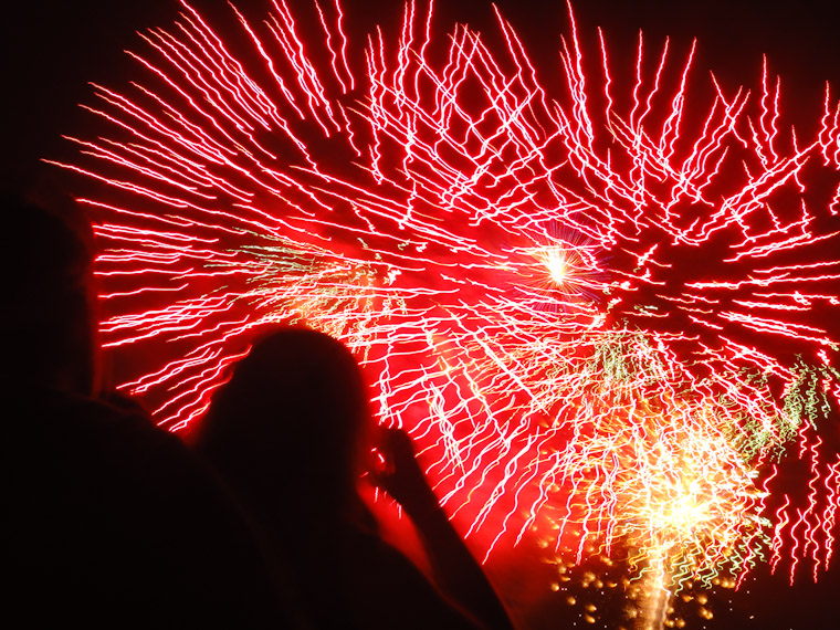 Photo of couple watching fireworks in Saint Augustine florida