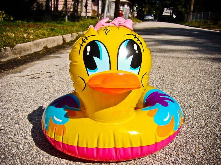 photo of inflatable duck on lincoln street in lincolnville