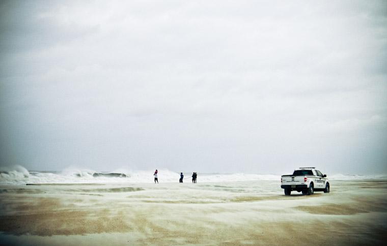 Wave watching hurricane sandy in St Augustine Florida