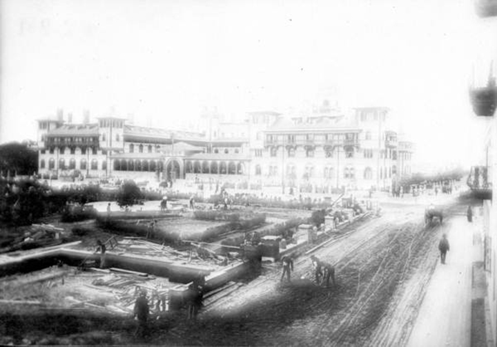 Picture of hotel alcazar garden being created in Saint Augustine Florida