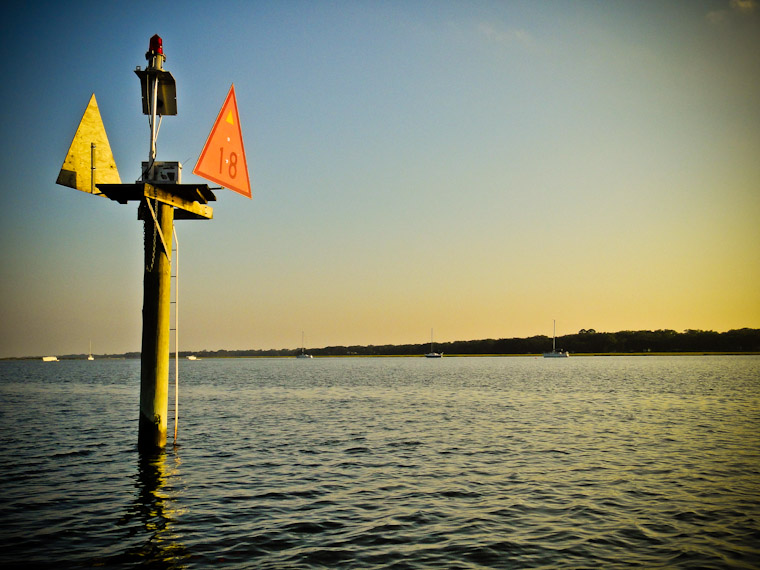 Intracoastal Channel marker Sunset