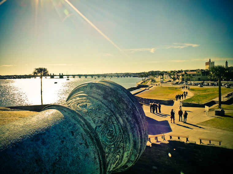 Fort Cannon aimed at downtown St Augustine Florida