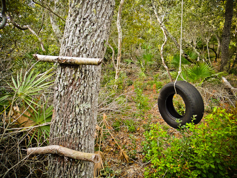 tire swing at moses creek in st augustine Florida