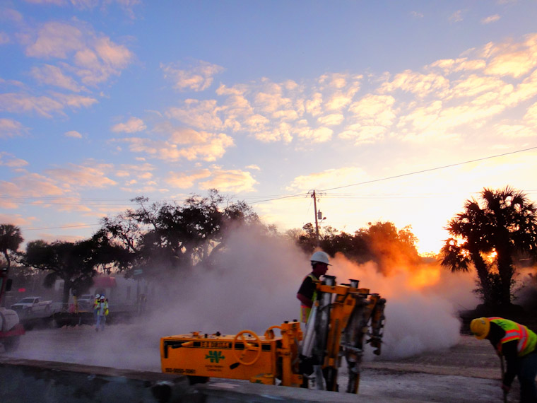 Picture of morning construction on US 1 bridge in Saint Augustine Florida