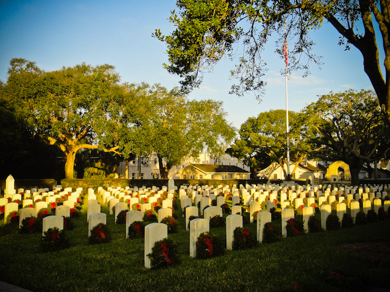 National Cemetery Wreaths in Saint Augustine Florida