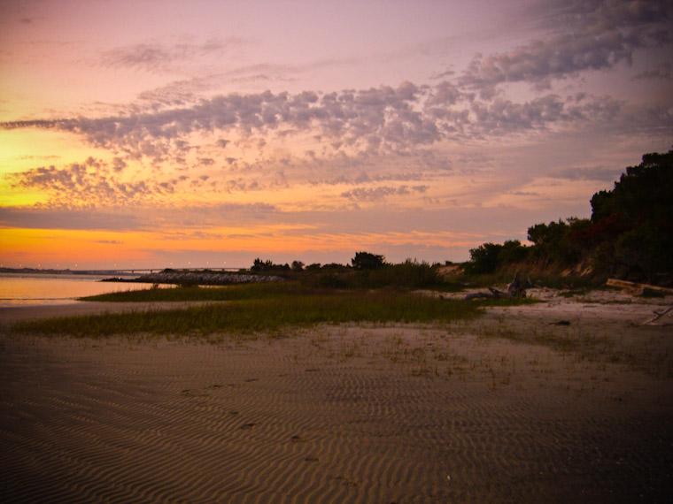 Sunset footprints on Anastasia Island