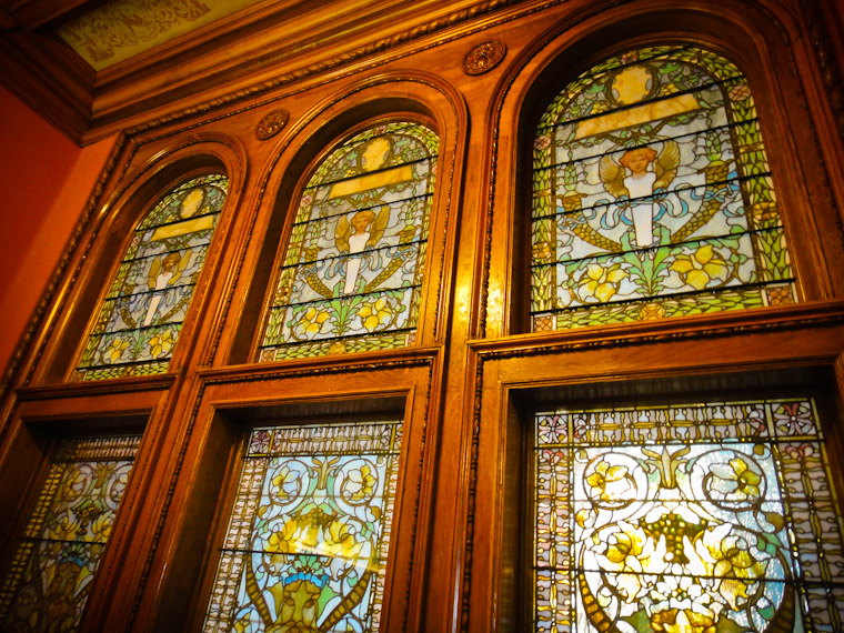 Tiffany stained glass in Flagler Stairwell