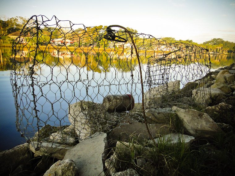 Metal fence fish trap at Lake Maria Sanchez