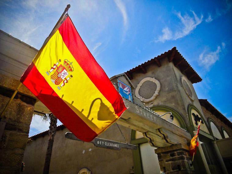 Aviles street entrance spanish flag