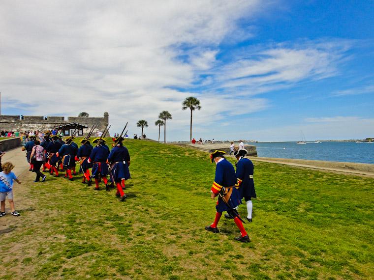Soldiers returning to Castillo de san Marcos