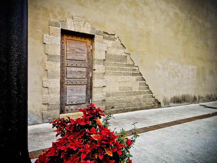 Doorway and poinsettia on Aviles Street