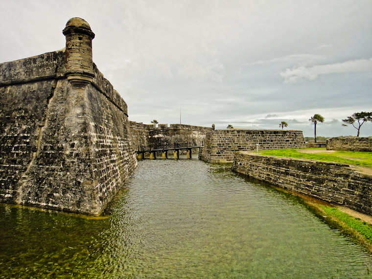 Castillo de San Marcos fort moat full of water