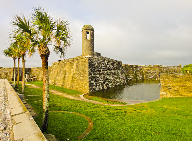 Rain filled moat at the fort