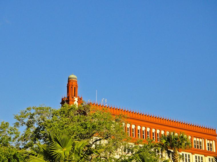 Roof line of Wachovia Wells Fargo bank building