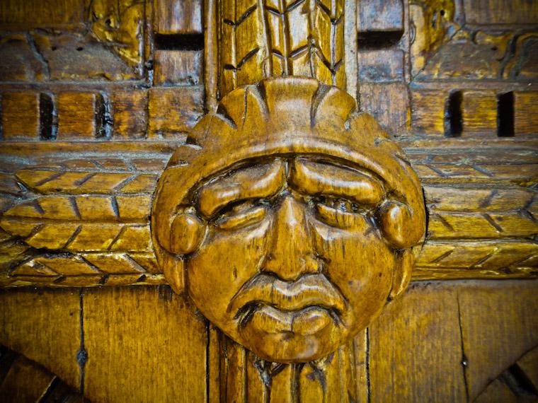 Wood carved door detail
