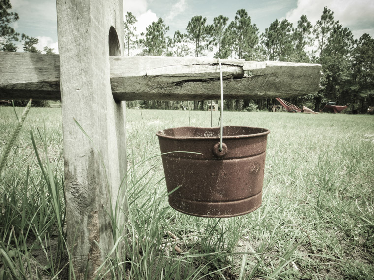 Rusty bucket hanging from wooden fence at Agricultural museum