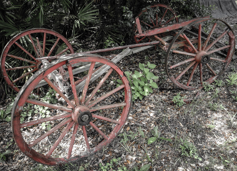 Old red wagon wooden wheels at Florida Agricultural museum