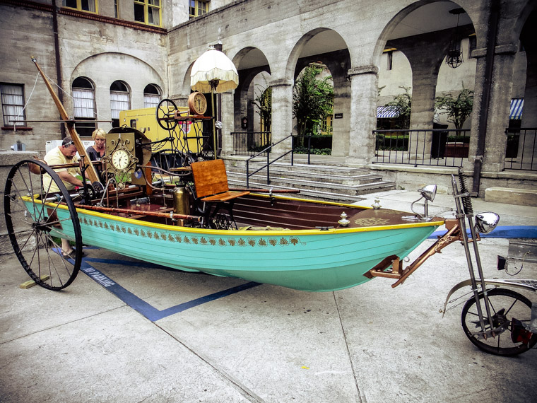 Steam punk tricycle boat bicycle