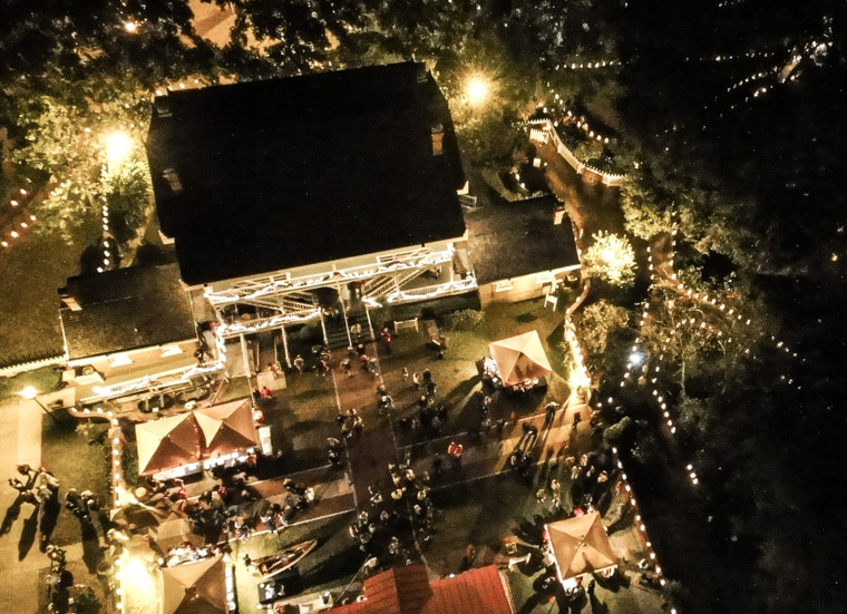 St Augustine Lighthouse luminary night from above