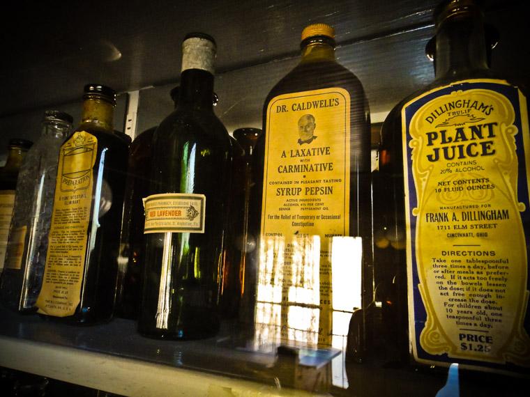 Quack medicines on shelf at oldest drugstore