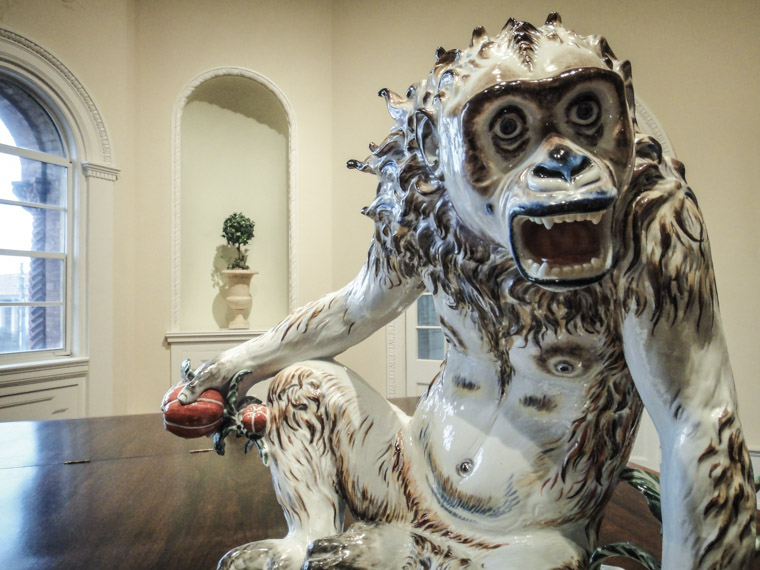 porcelain monkey sculpture at lightner museum