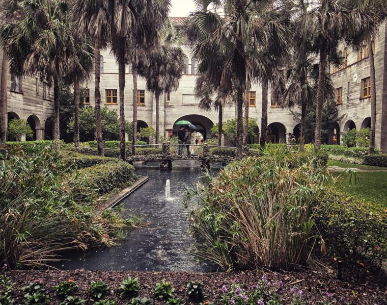 Lightner museum koi pond umbrella couple