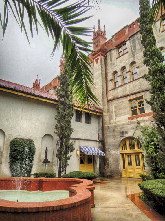 Lightner museum on rainy day from side fountain